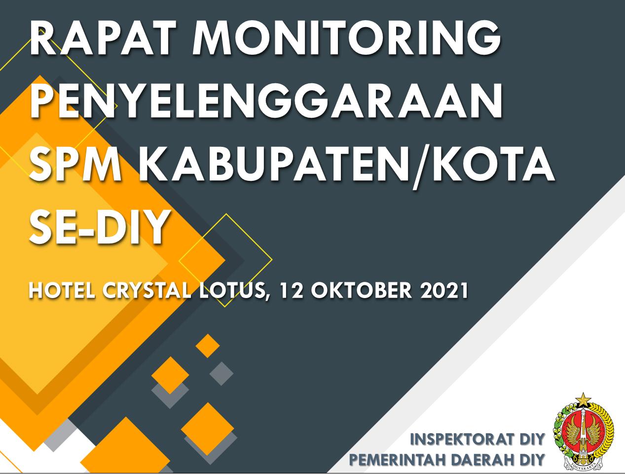 Monitoring Penyelenggaraan SPM Kabupaten/Kota Se DIY